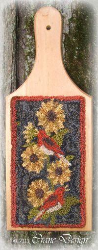 Crane Design By Jan Mott Wool Lique Penny Rug Punchneedle Patterns