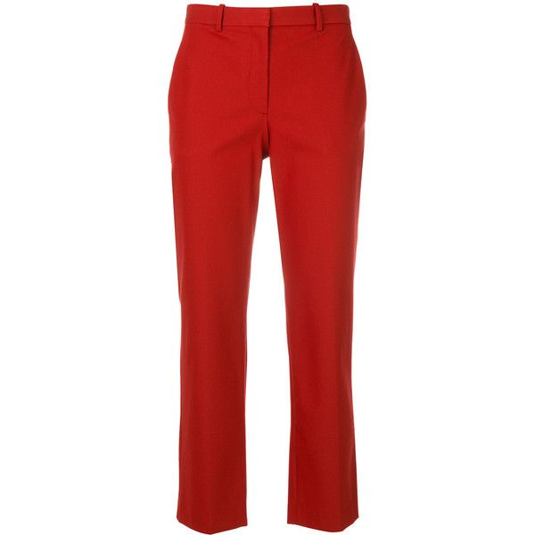 Theory cropped tailored trousers (21.190 RUB) ❤ liked on Polyvore featuring pants, capris, red, tailored trousers, theory pants, crop length pants, red trousers and red pants
