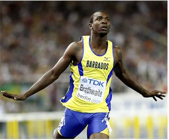 Ryan Brathwaite of Barbados celebrates winning the gold medal in the Men�s 110m Hurdles race during the World Athletics Championships in Berlin yesterday. Description from barbadosadvocate.com. I searched for this on bing.com/images