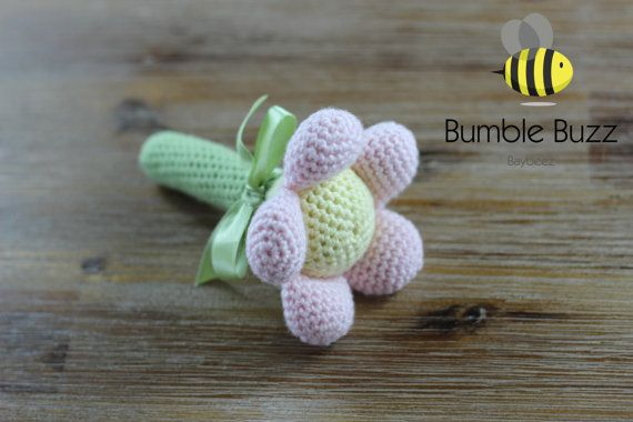 Camellia Baby Rattle by BumbleBuzzBaybeez on Etsy