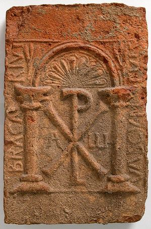 Tomb Plaque. Chi-Rho symbol for Christ. [Byzantine or Visigothic] (400-800 CE) | Heilbrunn Timeline of Art History | The Metropolitan Museum of Art