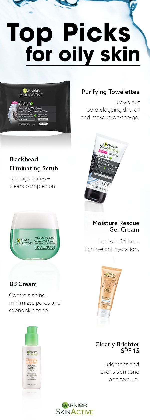 Oily skin has specific needs. To look and feel its best, oily skin needs lightweight, oil-free cleansers and moisturizers. Discover our top picks of Garnier SkinActive products to give you shine-free, healthy-looking skin every day.