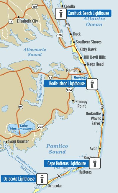 Map Of Outer Banks Lighthouses