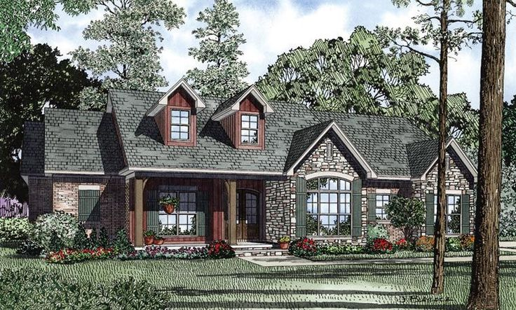 Country Craftsman Ranch Traditional House Plan 61297 Elevation