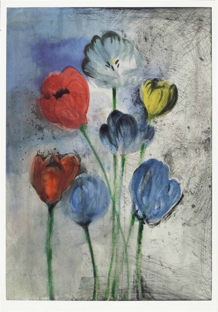 Jim Dine - Flowers of Manhattan Flowers of Manhattan - the complete set of three screenprints in colors with etching, aquatint, power-tool abrasion, and hand-coloring, 1998, on Hahnemühle warm white paper,each signed and dated in pencil, numbered 24/25 (there were also 5, 6 and 7 artist's proofs respectively), published by Pace Editions, Inc., New York, generally in excellent condition, framed Image: 37¼ x 26¼ in. (946 x 667 mm.) (and smaller)