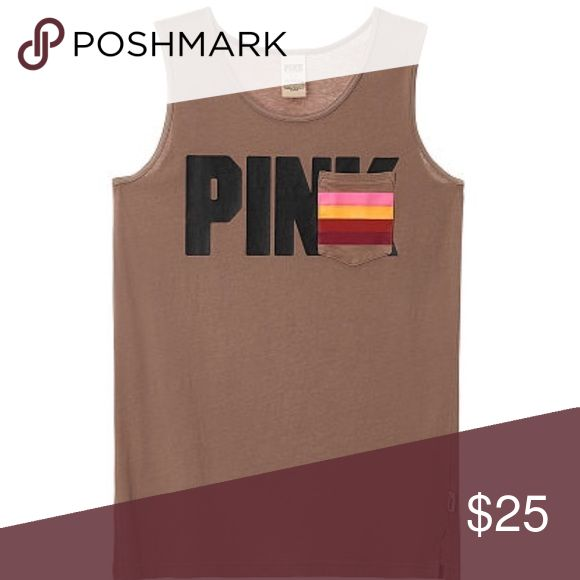 """PINK Campus Tank New in online packaging. Brown with black """"PINK"""" logo. Breast pocket has a striped pattern with 4 different pops of color to top of a great tank!! Only one in each size available!! Get it or regret it!! ❤️ PINK Victoria's Secret Tops Tank Tops"""