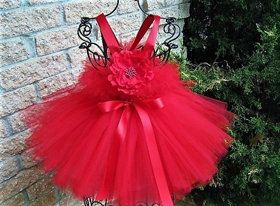 BABY BERRY RED - Tutu Dress -First Birthday Dress - Flower Girl Gown - Pageant Baby Outfit - Red Tutu Dress - Photo Shoots- Girls' Red Dress
