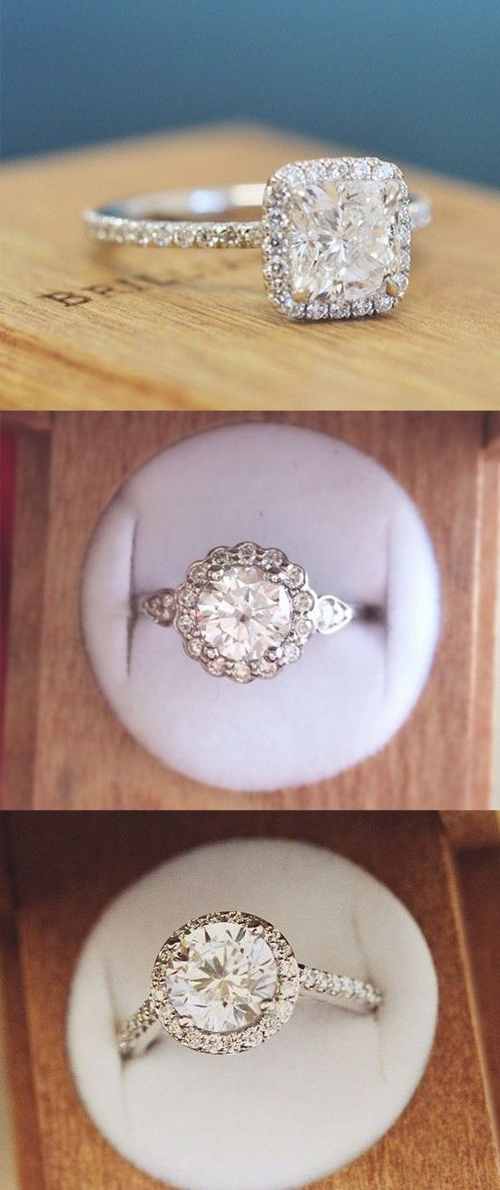 Love the dazzling diamond accents on these glittering halo engagement rings.