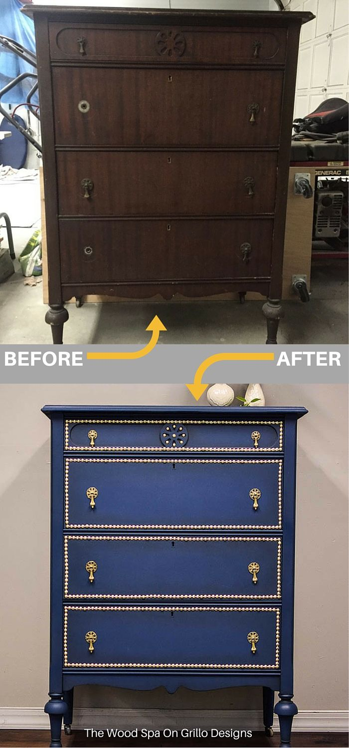 Patricia from The Wood Spa shares how she updates a standard wooden dresser into this stunning blue masterpiece using nail head trim. Full DIY tutorial here