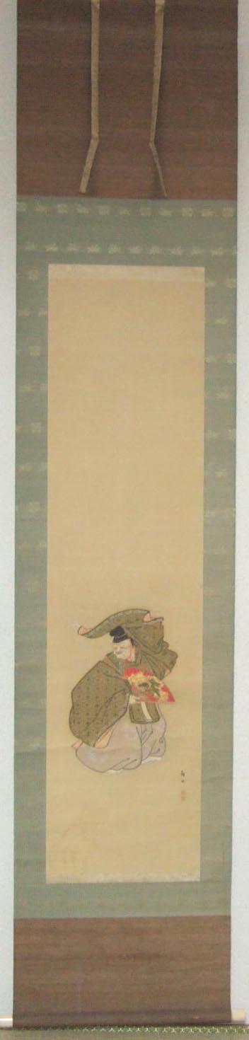 Actor de teatro tradicional japonés Noh interpretando con su máscara de Okina (anciano en el que está encarnado un dios).  Raro kakemono japonés sobre seda con montura también de seda sobre papel artesanal, con los extremos de enrollar de hueso. Tiene la firma y sello de Kakutei Asano, obra entre 1930 y 1940. Kakutei Asano vivió entre 1891 y 1966, fue discípulo del famoso Kansetsu Hashimoto (1883-1945). Medidas: 211x121 cm. Pintura: 44,3x31,3 cm. Colección propia.
