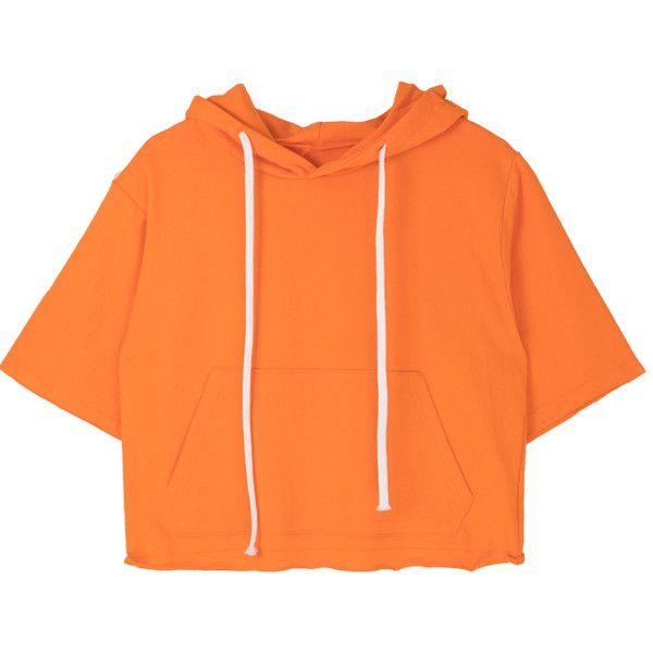 Rolled Edge Hoodie ($14) ❤ liked on Polyvore featuring tops, hoodies, kangaroo pocket hoodie, summer hoodies, orange hoodies, drawstring hoodie and orange top