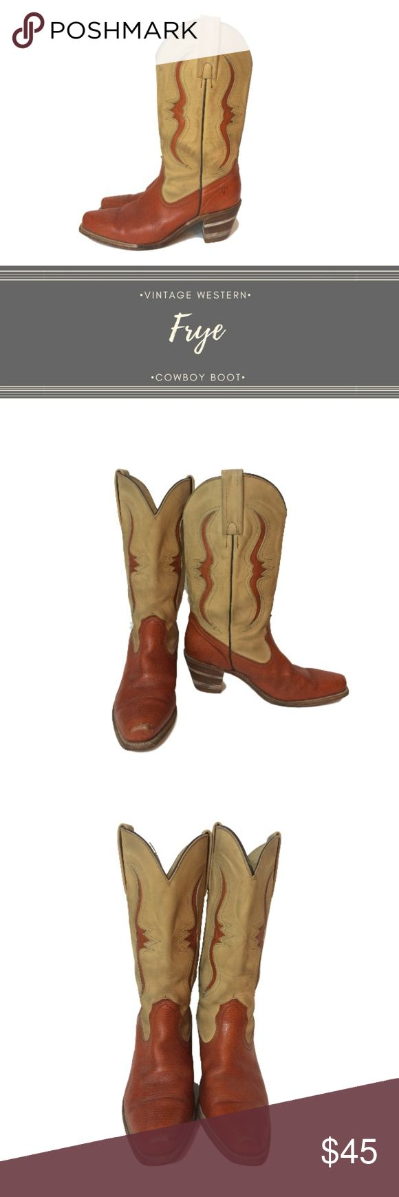 VTG Pre-Loved FRYE Western Cowboy Boot USA, sz. 10 These gorgeous Frye western cowboy boots are gorgeous! The orangy leather is complimented by tan uppers. These are structurally in great shape, but do have some wear on the toes and rear heels. Also, the uppers are a little dirty from wear but they still have a lot of life left to give. They are really beautiful! I love the squared off toe and the guitar cut outs on the uppers. These are made in the USA and are great quality!  Size: 10…
