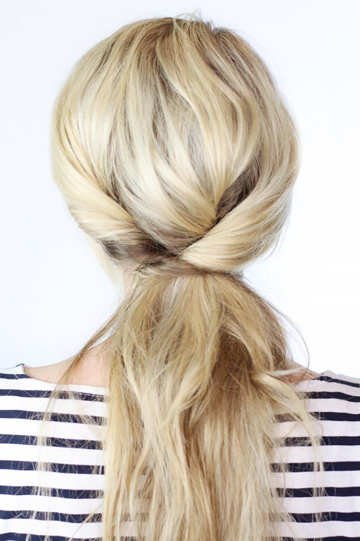 Triple twisted ponytail