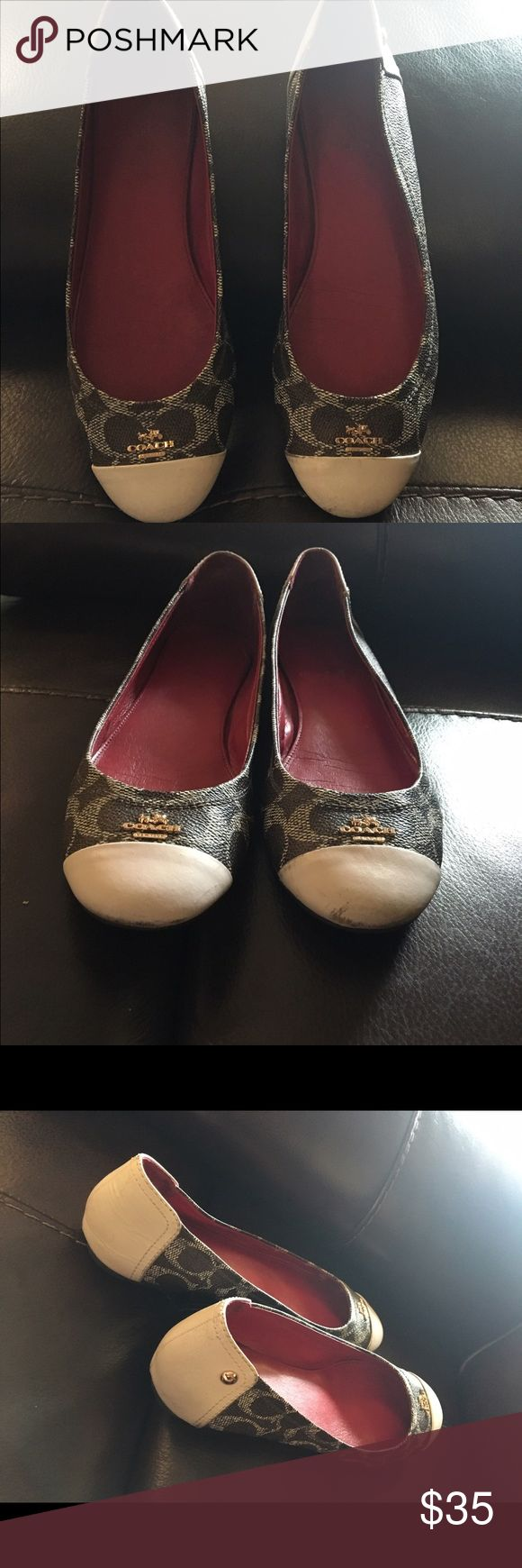 Brown and white Coach shoes Cute Coach shoes. The white part is a little scuffed and shows some wear. Nice for work or to dress up a casual outfit. Wore about a dozen times. Coach Shoes Flats & Loafers