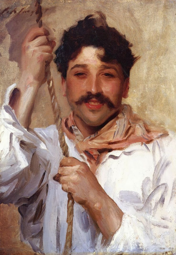 John Singer Sargent - 1900c Italian with a Rope oil on canvas 61 x 47.7 cm Private Collection.  I'm crazy about those fantastic free brushstrokes to define the shadow and movement of the fabric. I love looking at the thumbnail and then clicking on it to reveal how loose it all really is.