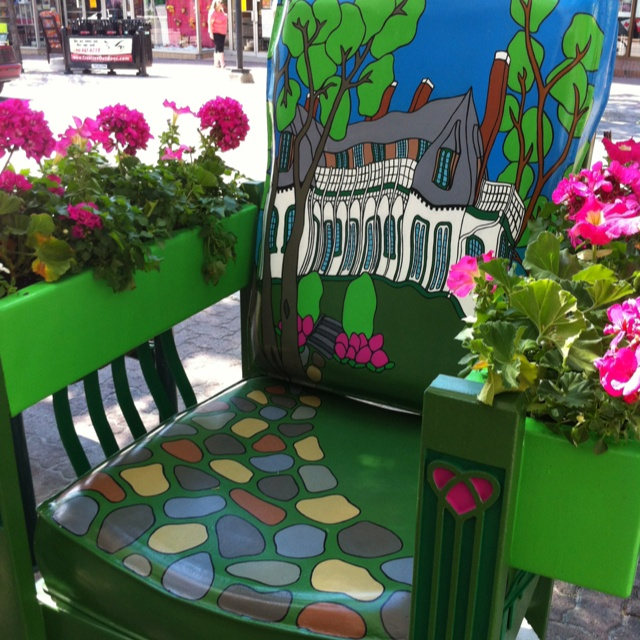 Downtown Orillia, Ontario Canada - painted chair contest Chair by Kathy Godfrey :) Works at The Shadowbox :)