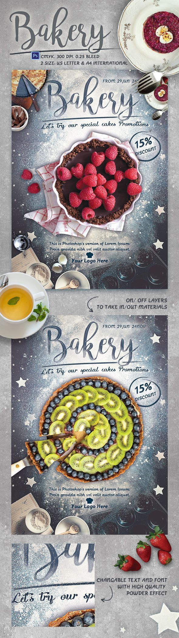 Bakery Promotion Flyer Template bake, baker, baking, breakfast, cake, coffee shop, cook, cooking, discount, flyer, hand made, lotteria, mousse, powder, promotion, restaurant, tart, template, tools, top view