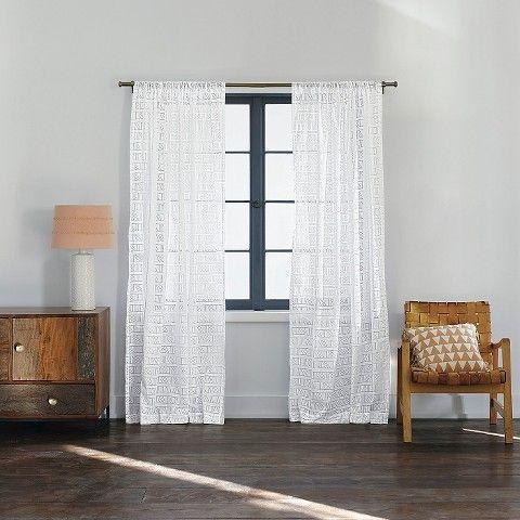 Nate Berkus Diagonal Burnout Sheer Curtain Panel True