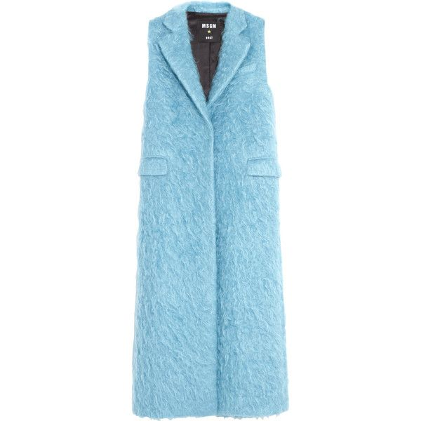 MSGM Fleece wool and mohair-blend gilet ($430) ❤ liked on Polyvore featuring outerwear, vests, sky blue, woolen vest, msgm, blue vest, blue waistcoat and blue fleece vest