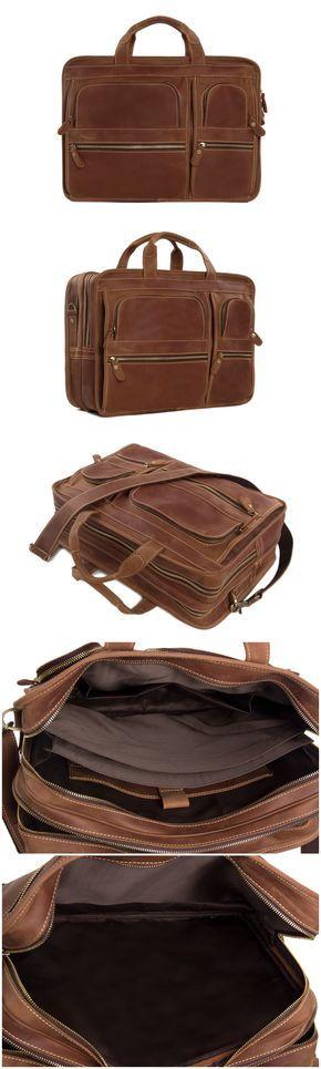 Leather Luggage Bag, Travel Bag, Laptop Briefcase