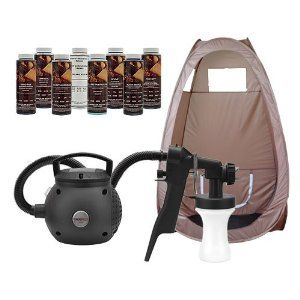 Maxi-Mist Lite Sunless Spray Tanning KIT Tent Machine Airbrush Tan Maximist BRWN by MaxiMist. Save 40 Off!. $199.00. 1 YEAR MOTOR WARRANTY. 10 foot EzyFlex Non-fatigue air supply hose. CE, EU, ECAL worldwide certifications. 400 Watt taper fan turbine motor. Sealed power switch. Whether you are a seasoned professional, pursuing a new side business, or just want to bring your tanning costs under control, we have the sunless tanning spray kit that will allow you to get started right...
