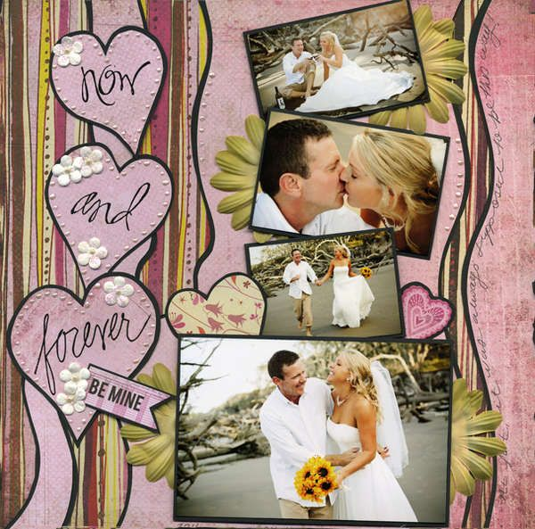 Wedding scrapbook page idea #seemoreweddingideas Love this layout and the colors.