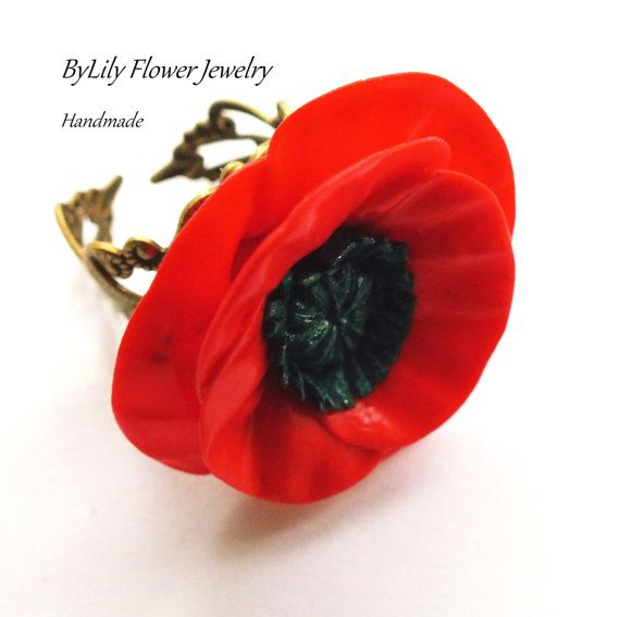 Vintage Filigree Ring with a Polymer clay Poppy by ByLilyjewelry