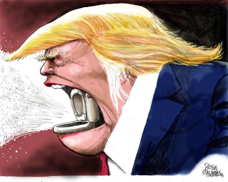 "Editorial cartoon by Steve Benson found on theweek.com on Thursday, February 11, 2016 / His tongue is blue ""Ty-D-Bol Trump"""