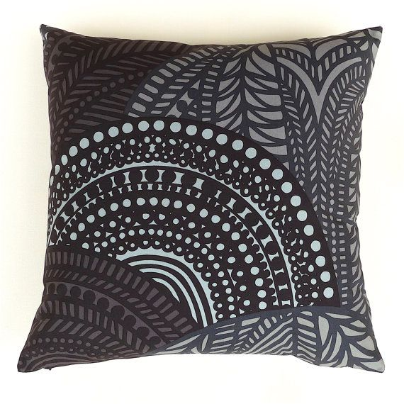 Marimekko Black and Grey Pillow Cover. Scandinavian by OnHighat5