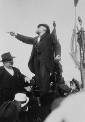 Speech of Jean Jaurès during the demonstration against the three-year law. On the left: Pierre Renaudel, one of the founders of the French Socialist Party. Le Pré-Saint-Gervais (France), on May 25, 1913.