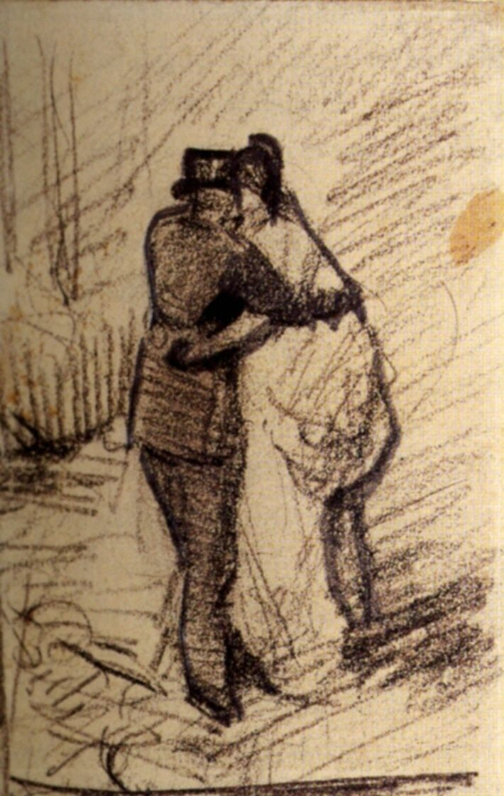 best images about artist van gogh sketches a man and a w seen from the back vincent van gogh completed by paris post impressionism sketch and study chalk on paper