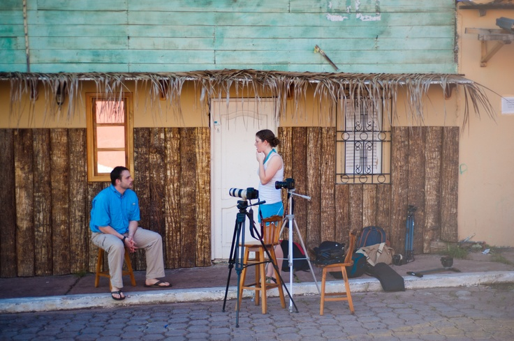 Carolyn Stotts and Steven King prepares to interview with Nicolas Balon on coffee in the Galapagos Islands.