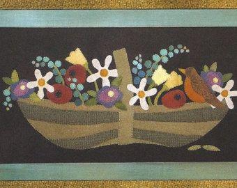 Primitive Art populaire laine Applique marche par Justplainfolk