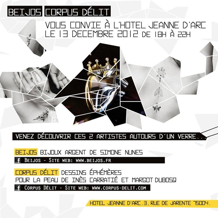 L'@Hotel Jeanne d'Arc vous convie à une vente très privée, jeudi 13 décembre 2012. Placée sous le signe de la volupté et de la création féminine, parez-vous des bijoux précieux de BEIJOS et de peintures éphémères de Corpus Délit. Parfait pour une mise en beauté avant de partir en soirée, ou pour trouver un cadeau magique pour une personne très spéciale...  http://lesvoixdejeanne.com/vente-privee-beijos-corpus-delit-bijoux/