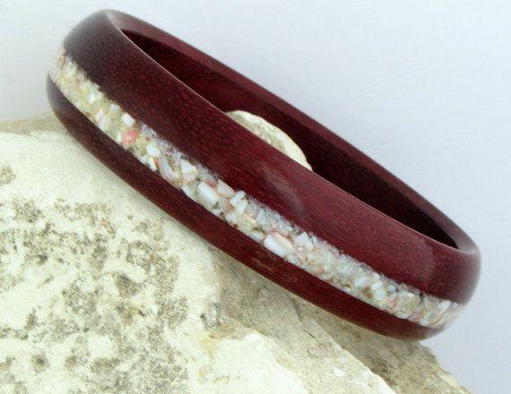 Wood Bangle, Purple Heart Wood Bangle, Inlaid Crushed Seashell, Hand Made, Christmas Gift, Gift for Her