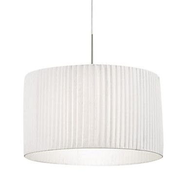 60W Comtemporary Pendant Light with 1 Light in White Fabric Shade – USD $ 239.99