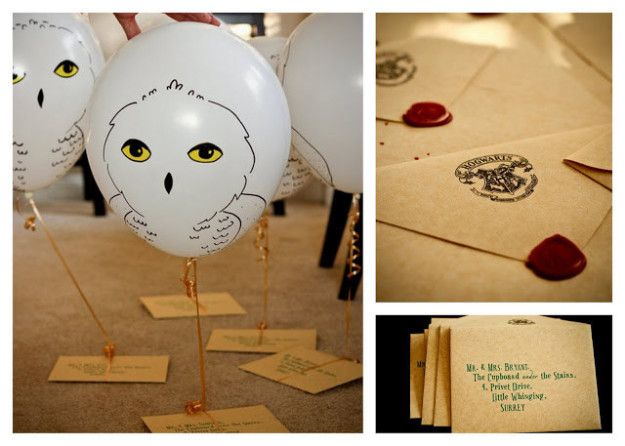 "Let loose a flock of balloon owls weighed down by Hogwarts letters. | 27 Magical Ideas For The Perfect ""Harry Potter"" Party"