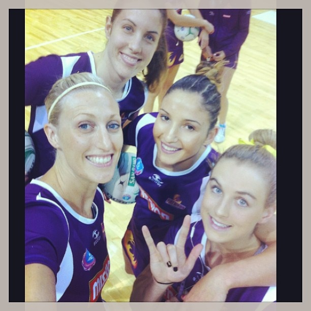 Firebirds on court before their clash against the Vixens yesterday.