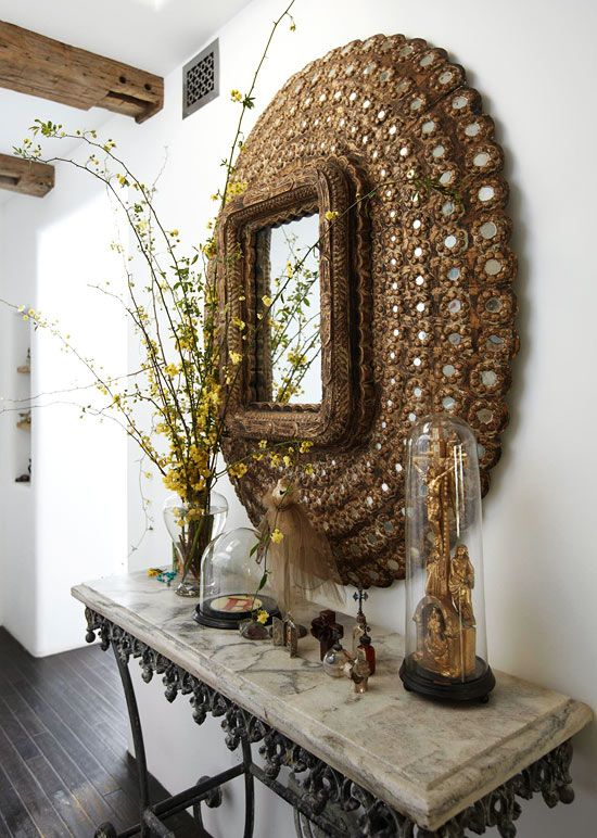 : French Pastries, Decor Ideas, Mirror Mirror, Interiors Design Tips, Peacocks Mirror, Pastries Tables, Hall Tables, Gold Mirrors, Perfect Gray