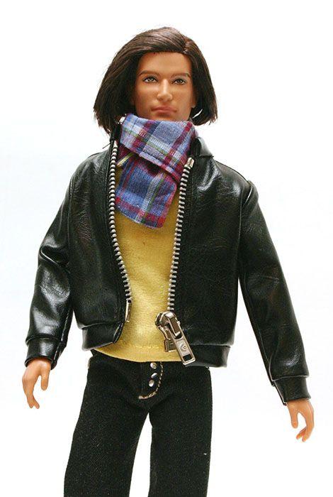 Ken jacket: black leatherette jacket with zipper (Ken clothes)
