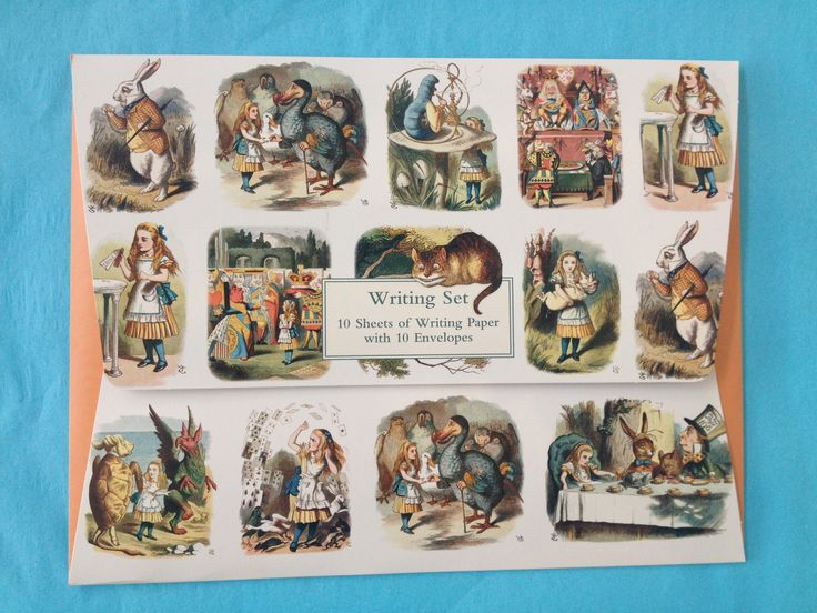 Writing set featuring Sir John Tenniel's original illustrations from the 1865 edition of Alice in Wonderland.