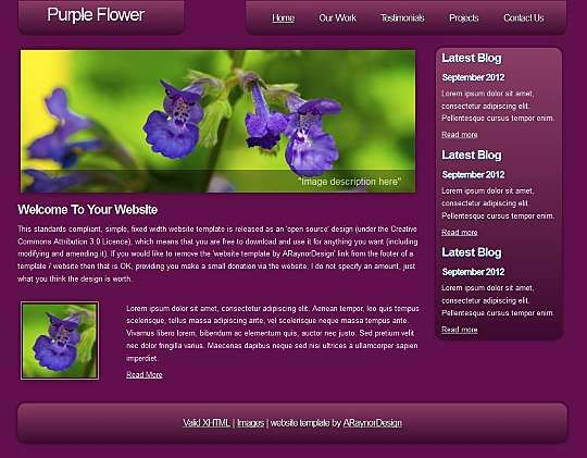 Purple Flower HTML Template  #Blog #Business #Corporate #Personal #Portfolio Link: https://goo.gl/ubvVa7