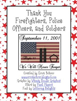 Thank a Fireman, Police Officer, or Soldier: Patriots Day, English Language Arts, True Heroes, Inspirational Heroes, Writing Printable, Ehle Kindergarten, Ehl Kindergarten, Drawing, September 11Th