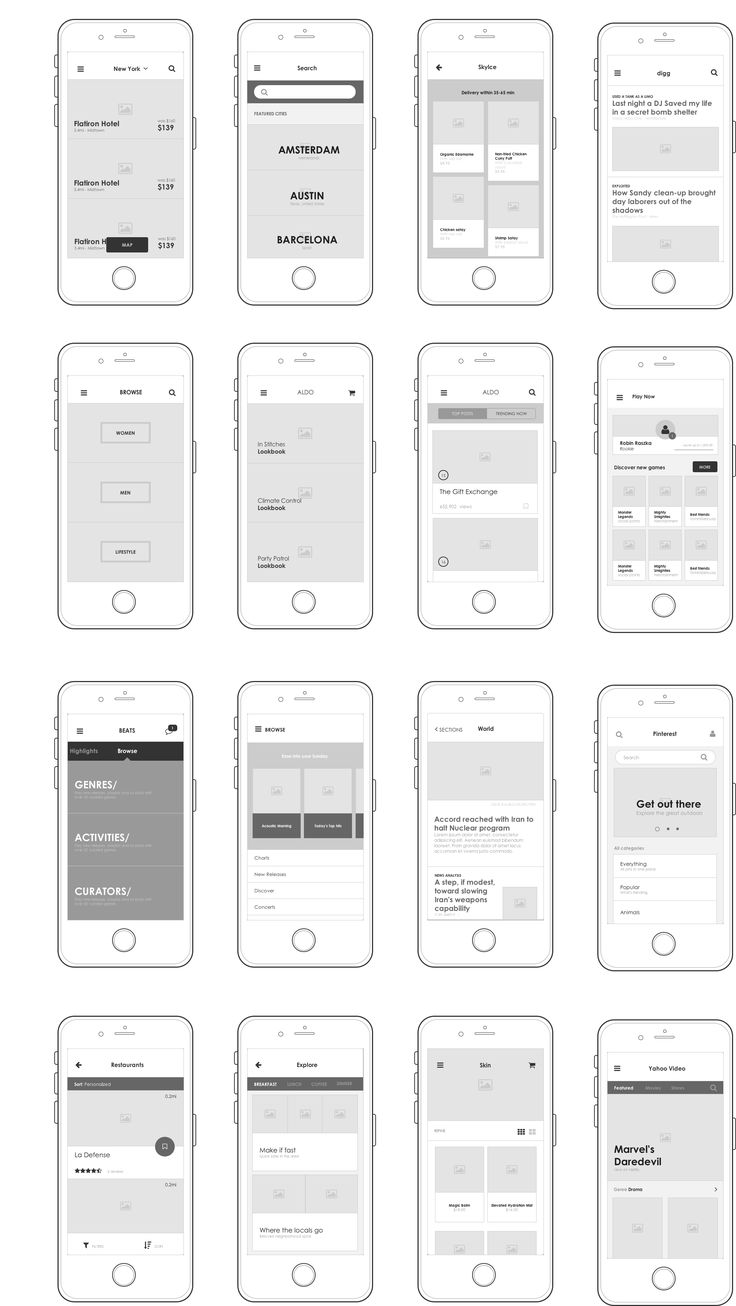 Axure Mobile UI for listings by humbleUX on @creativemarket