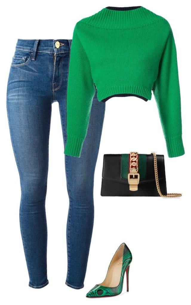 """""""Untitled #261"""" by sb187 ❤ liked on Polyvore featuring Frame, Christian Louboutin, Monse and Gucci"""
