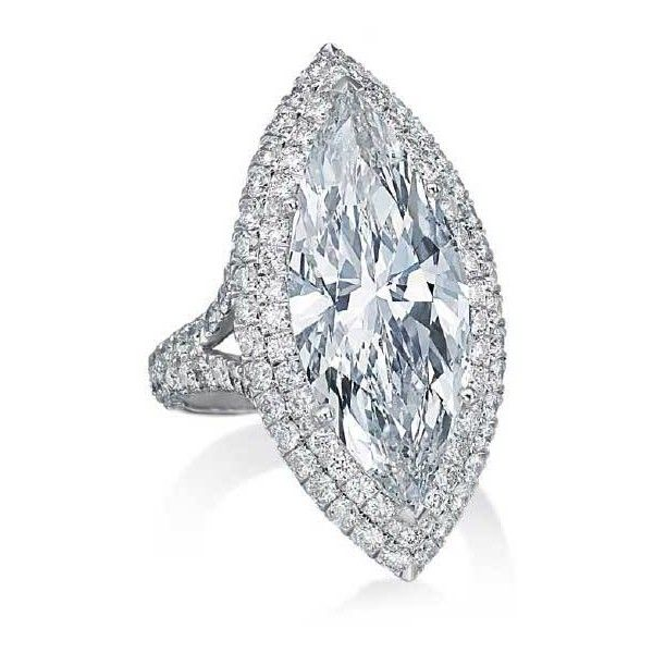 Large Halo Marquise Platinum Engagement Ring ($279,000) ❤ liked on Polyvore featuring jewelry, rings, round cut diamond engagement rings, platinum ring, platinum jewellery, round diamond engagement rings and i love jewelry