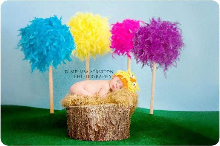 Inspired from Dr. Seuss The Lorax crochet baby newborn hat photo prop photography. $25.00, via Etsy.