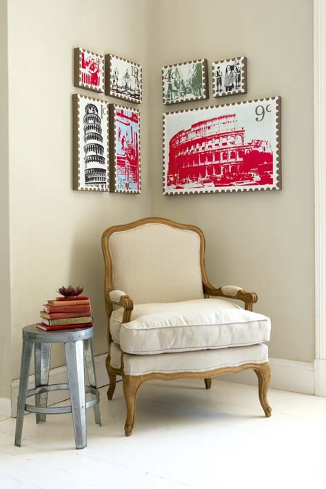 Blown up stamps - easy and stylish home artwork. Looks nice but would need to be different colours.