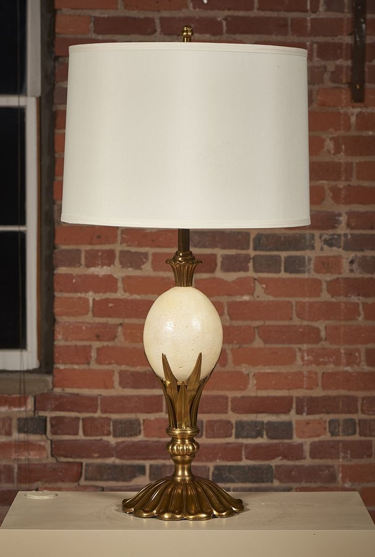 Wildwood brass and crystal beads buffet - Table Lamp With Ostrich Egg Motif Classic Brass Accents Fabric Shade