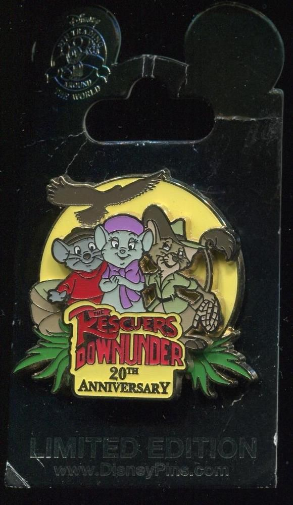 This limited edition pin commemorates the 20th anniversary of Disney's Rescuers Down Under and features Bernard, Bianca, and Jake. A silhouette of Marahute is above in the background. Exceptions apply, rates may differ for an abnormally heavy pin or a full pin set. | eBay!